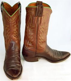 Vintage boots mens brown Nocona cowboy boots are two-tone with flame stitched uppers in green/yellow and green piping along the top edge.  $350 luckystargallery.com