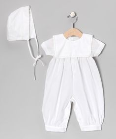 Look what I found on #zulily! White Square Collar Christening Playsuit & Bonnet - Infant #zulilyfinds