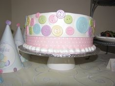 Cake at a Cute as a Button Party #button #party