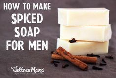 to Make Homemade Soap for Men - Natural spiced soap made with essential oils will be a hit with the men in your life!How to Make Homemade Soap for Men - Natural spiced soap made with essential oils will be a hit with the men in your life! Diy Savon, Savon Soap, Homemade Gifts For Men, How To Make Homemade, Diy Gifts, Mens Soap, Wellness Mama, Essential Oils Soap, Soap Making Supplies