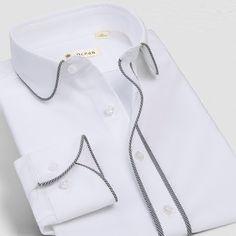 High Collar Shirts, Shirt Collar Styles, Plain White Shirt, White Shirts, Gucci Shirts Men, Camisa Slim, Skinny Biker Jeans, Aloha Shirt, Shirt Embroidery