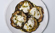 Tasty rounds: aubergine and mozzarella. Photograph: Jonathan Lovekin for the Observer