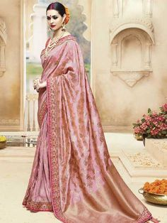 Peach Kanjivaram Silk Saree with Embroidery Work Best Indian Sarees CLICK VISIT link above for more info