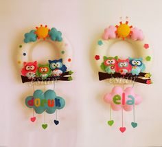 Chirping: Owl family door s . Craft Stick Crafts, Felt Crafts, Fabric Crafts, Diy And Crafts, Crafts For Kids, Arts And Crafts, Bear Felt, Felt Baby, Owl Baby Rooms