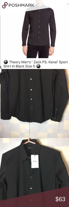 """Theory Men's ' Zack PS. Kenai' Sport Shirt Theory Men's ' Zack PS. Kenai' Sport Shirt    In Black  Size S 🎱      New with defects.  store try on model. Some deodorant marks.  with tags.       Shoulder to Shoulder 17.5  Sleeve length 25""""  Full length 28.5""""      Tailored slim for a sleek, modern fit, a stretch-fit cotton-blend sport shirt is cast in a versatile black hue and finished with a crisp point collar, long slender sleeves and adjustable button cuffs.  Front button closure.  Point…"""