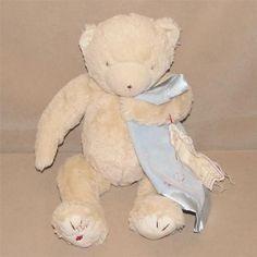 "Bunnies By The Bay Tan Teddy Bear Plush Bao Bao Blue Blanket 15"" Toy Together #BunniesbytheBay"