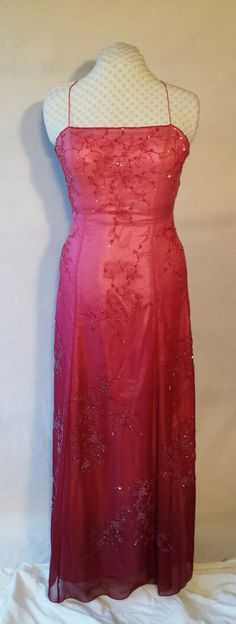 Gorgeous pink to burgundy ombre silk gown, beading, Swarovski crystal accents,matching silk scarf/wrap, upcycled,formal,bridesmaid,Size L/XL by DoubleTakeGlamour on Etsy https://www.etsy.com/listing/245330449/gorgeous-pink-to-burgundy-ombre-silk