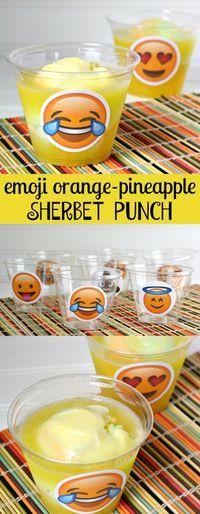 Emoji Orange Pineapple Sherbet Party Punch Recipe