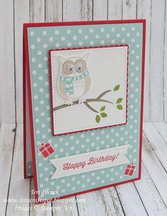 Stampin' Up! - Cozy Critters - Birthday Owl .... Teri Pocock - http://teriscraftspot.blogspot.co.uk/2016/11/cozy-critters-birthday-owl.html