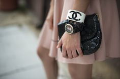 I'm wearing a Chanel cuff bracelet and Vabene black skull watch with rhinestones. See the rest of my outfit here: http://www.thepresidentwearsprada.com/escape-from-the-orchard/