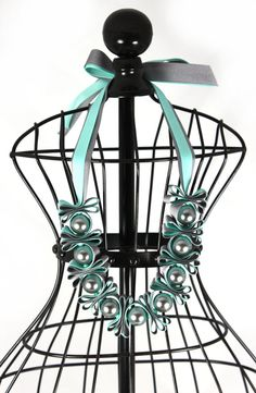 Aqua and Grey Oversized Statement Pearl and Ribbon by maneggi