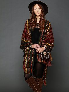 Free People Woven Blanket Poncho at Free People Clothing Boutique