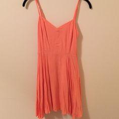 Coral Strappy Sundress From Aritizia: Coral, spaghetti strap sun dress, side zip, lining Aritzia Dresses