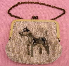 Vintage 1920's Antique Art Deco Beaded Flapper Childs Doll Purse Dog Terrier