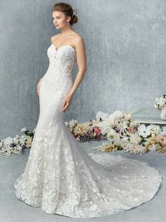Colour Options: Champagne/Ivory Silver (Pictured) - Ivory/Ivory Silver - White/White Silver Embroidered Lace with Floral Pattern Groom Wedding Dress, Sweetheart Wedding Dress, Wedding Dress Styles, Designer Wedding Dresses, Bridal Dresses, Wedding Gowns, Mermaid Sweetheart, Mermaid Wedding, Bouquet Wedding