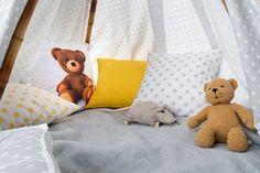 Detská izbička vo farbách a vzoroch kolekcie Ashley.  #detskaizba#vankuse#teepee Baby Room, Dinosaur Stuffed Animal, Kids Room, Toddler Bed, Childhood, Toys, Children, Room Carpet, Fabric