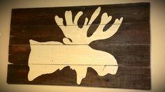 Reclaimed Barn Wood Moose Painting