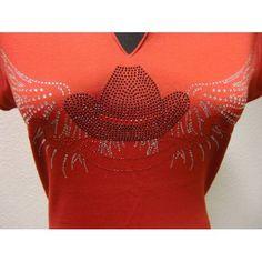 Rotes T-shirt für Linedance mit Strassmotif T Shirt Rot, Ruffle Blouse, Crop Tops, Women, Fashion, Jackets, Cotton, Short Tops, Moda