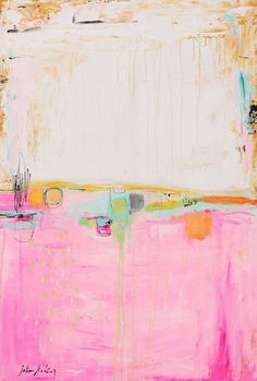 Art Print GICLEE print, green abstract painting with rosa and white. Modern painting jolina anthony