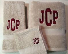 Items similar to Monogram Towel Set, personalized towel set, on Etsy Monogrammed Beach Towels, Monogram Towels, Personalized Towels, Embroidery Monogram, Embroidery Applique, Great Wedding Gifts, Towel Set, Monograms, Appliques