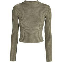 Rib-knit Sweater $19.99 (€18) ❤ liked on Polyvore featuring tops, sweaters, ribbed knit sweater, brown top, brown sweater, h&m sweater and long sleeve sweater