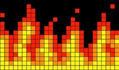 Ravelry: Flames pattern by Alexander Rusch Bead Loom Patterns, Bracelet Patterns, Beading Patterns, Cross Stitch Patterns, Knitting Charts, Knitting Patterns, Pixel Art, Graph Paper Art, Pixel Pattern
