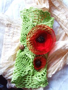 Green Crochet & Poppy field arm cuff OOAK by TheEnglishEclectic, $49.00