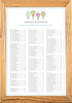 """Hot Air Balloon Seating Chart /Table Assignment for your Wedding or Special Event - Large 24"""" x 36"""""""