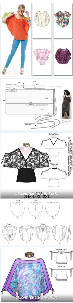 Туника к лету (легко).Pattern for a loose-fitting top to sew. Diy Clothing, Clothing Patterns, Dress Patterns, Sewing Patterns, Sewing Alterations, Sewing Blouses, Diy Vetement, Creation Couture, Couture Tops