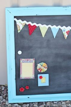 Robins Egg Blue Magnetic Chalk board!  I need to make a chalk board wall for the kids again.