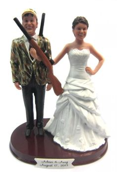 Hunting Bride and Groom custom wedding cake topper - sculpted to look like you!