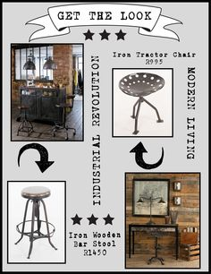 "THE INDUSTRIAL REVOLUTION ""Industrial? Funky? Or just practical An eclectic selection of Vintage and Modern Industrial furniture, decor and objects of desire"