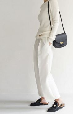 Chic Style - white tailored trousers & sweater with leather handbag & loafers