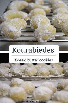 Kourabiedes (Greek butter cookies) - Eleni Saltas Greek Sweets, Greek Desserts, Greek Recipes, Lebanese Recipes, Crinkle Cookies, Snowball Cookies, Greek Cookies, Greek Pastries, Cookie Recipes