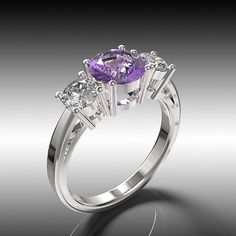 14k White Gold Engagement  Ring Purple Amethyst by GlamourDesign, $325.00