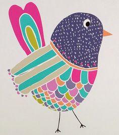 Print and Pattern - Colorful Bird Vogel Illustration, Cute Illustration, Bird Drawings, Grafik Design, Art Plastique, Bird Art, Doodle Art, Art Lessons, Print Patterns
