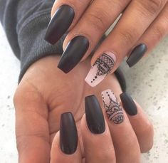 Image de nails, black, and nail art
