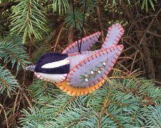 Wool Felt Goldfinch Ornament Folk Art by PatriciaWelchDesigns