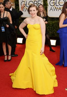 Lena Dunham | Fashion On The 2014 Golden Globes Red Carpet. awesome dress!