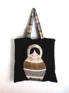 Handmade matrioska tote bag. via Etsy.
