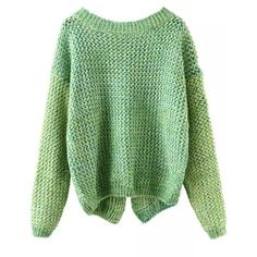 Long Sleeve Slit Back Green Sweater (257.045 IDR) ❤ liked on Polyvore featuring tops, sweaters, shirts, green, loose shirts, green shirt, extra long sleeve shirts, long sleeve pullover and acrylic sweater