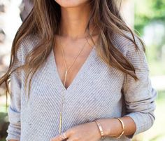This elegant long bar lariat necklaces features gold filled 20 chain around neck and down lenght is aprox. 6.  Gold plated upper one bar measure 3,2cm and