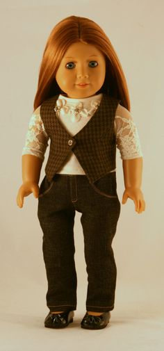 American Girl Doll Clothes - Beaded Top, Detailed Skinny Jeans, and LIned Vest with Buttonhole