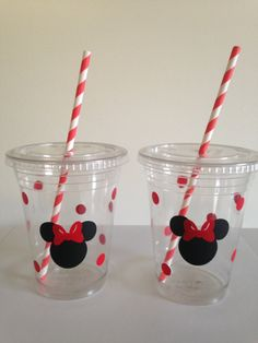 Minnie Mouse Party Cups red and pink by DivineGlitters on Etsy