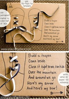 teach shoe tying I'm totally trying this! Why not actually use cheap flip flops and punch holes instead of just using them as a template.
