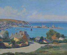 Emile Hamon XXème  Le port de Camaret .Finistère hst 46x55