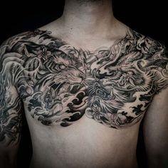 Tiger & Dragon double chest tattoo done by Winson. #workproud #wearproud #7381kennedyrd @wt_tattoo