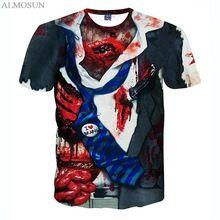 ALMOSUN Zombie con Maglia Maniche All Over Print T-Shirt Hipster Estate Tee  Hip Hop 3f9cc9c124f6