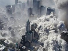 Aerial pictures, many never seen before, of the September 11 2001 attacks on the World Trade Center in New York City. World Trade Center, Trade Centre, Mega Tsunami, Twin Towers, 11 September 2001, July 7, New York City, Tower Falling, World Best Photographer