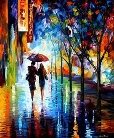Leonid Afremov! I love this guys work! He does it with a putty knife! Look him up and read his story. -SK